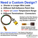 Surface Thermocouple | Self Adhesive or Cement On Custom Design