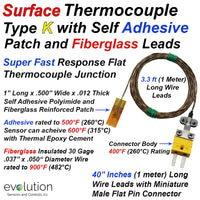 Surface Thermocouple | Self Adhesive or Cement On