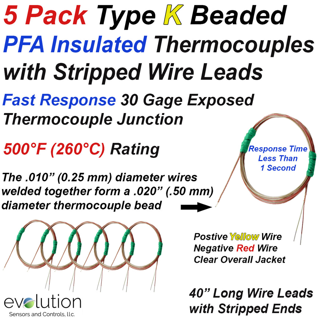 5 Pack of Type K PFA Insulated Thermocouples with 30 Gage Wire