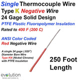 Single Thermocouple Wire | Type K Negative 24 Gage PTFE Insulated