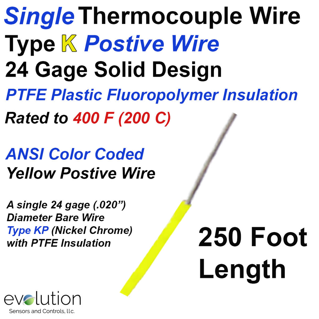 Single Thermocouple Wire | Type K Positive 24 Gage PTFE Insulated