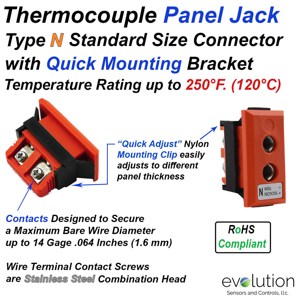 Type N Standard Size Panel Jack Thermocouple Connector