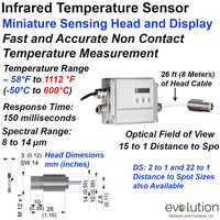 Miniature Infrared Temperature Sensor and Display with 15 to 1 Optics