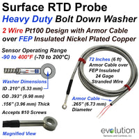 Surface RTD Probe Heavy Duty Washer with Armor Cable Protected Leads