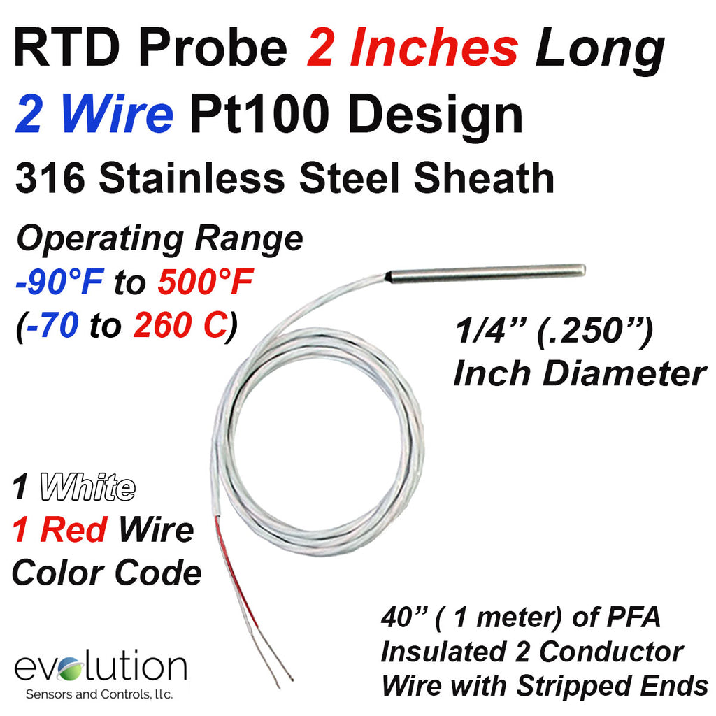 "2 Wire Pt100 RTD Probe 2 Inches Long x 1/4"" Diameter with PFA Lead Wire"