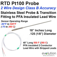 2 Wire RTD Probe with Transition to Lead Wire 18
