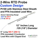 "2-Wire RTD Probe 12"" Long x 1/8"" Diameter with PFA Insulated Lead Wire"