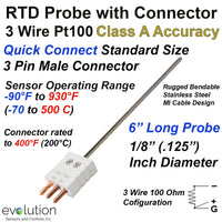 RTD Probe with a 3 Pin Male Standard Connector 6