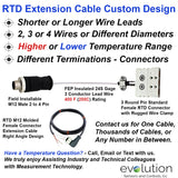 Quick Disconnect RTD Probe Custom Extension Cable