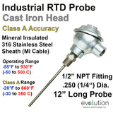 "RTD Probe - Industrial Cast Iron Connection Head 12"" Long 1/4"" Diameter"