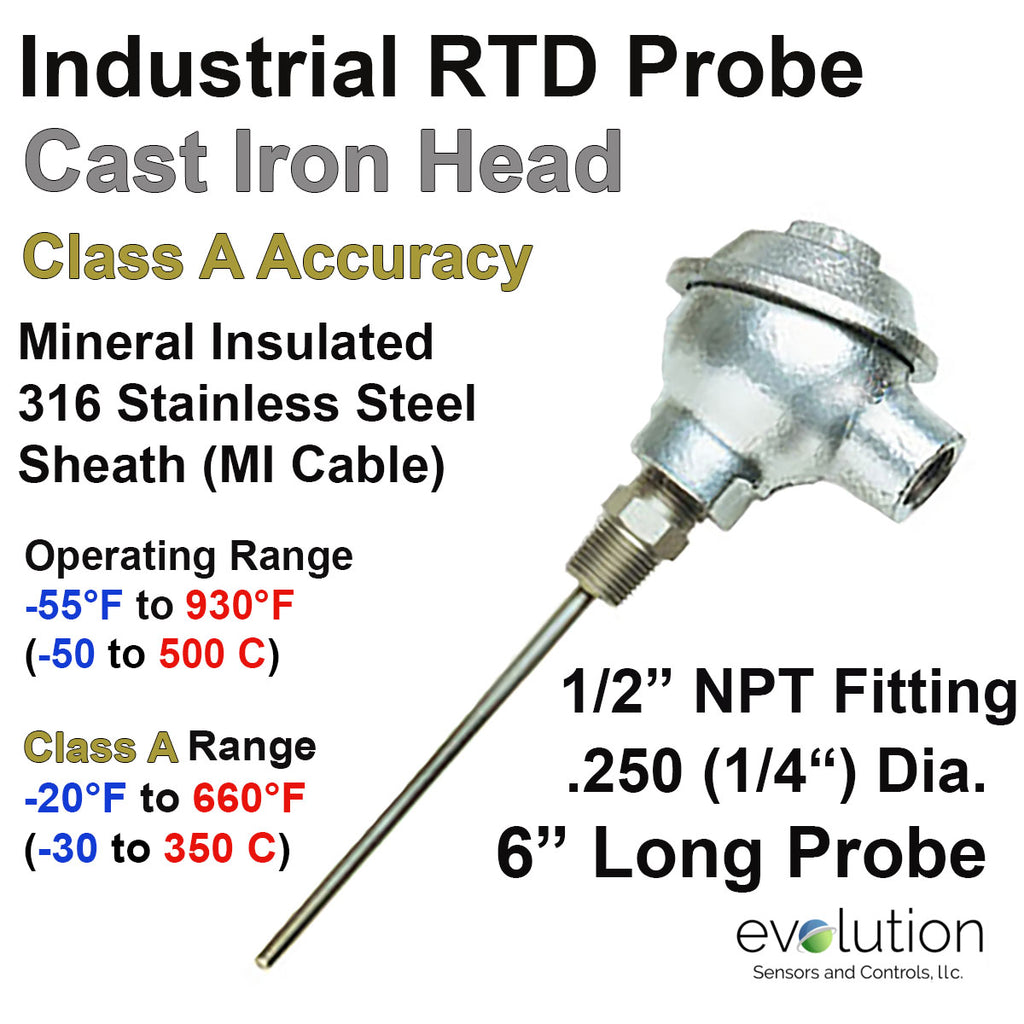 "RTD Probe - Industrial Cast Iron Connection Head 6"" Long 1/4"" Diameter"
