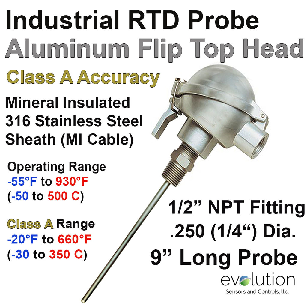 "RTD Probe - Industrial Aluminum Flip Top Connection Head 9"" Long 1/4"" Diameter"