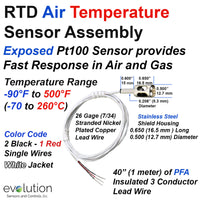 RTD Air Temperature Sensor with 40 inches (1 Meter) of PFA Lead Wire