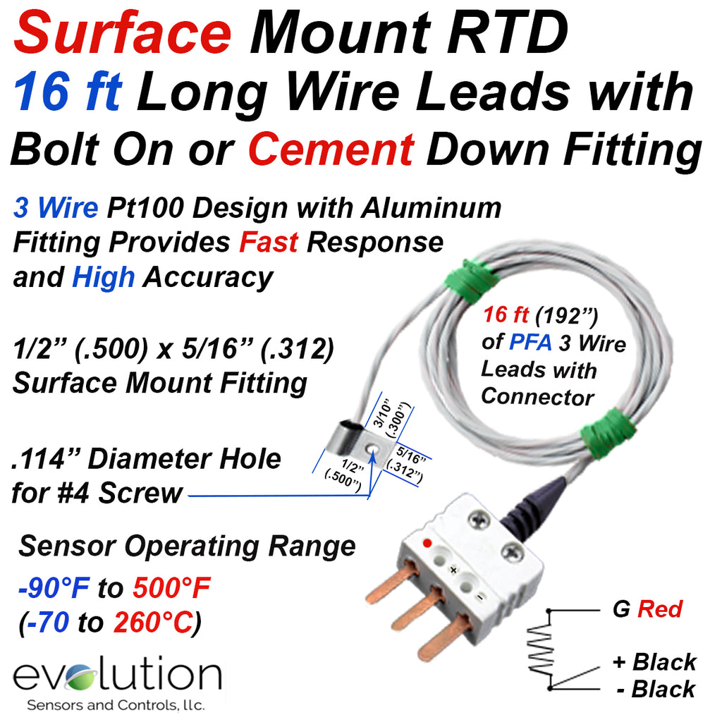 Surface RTD Temperature Sensor with 16 ft Long Leads and Connector