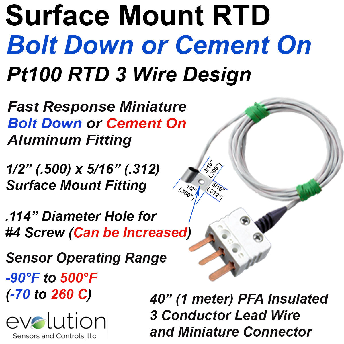rtd surface mount temperature sensor with miniature bolt down design rh evosensors com