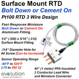 RTD Surface Mount Temperature Sensor Mini Bolt Down Design PFA Lead Wire and Connector