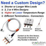 RTD Surface Temperature Sensor Custom Designs with Miniature Bolt Down Fitting