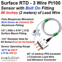 Surface RTD Temperature Sensor 3 Wire Pt100 with Bolt Down Fitting