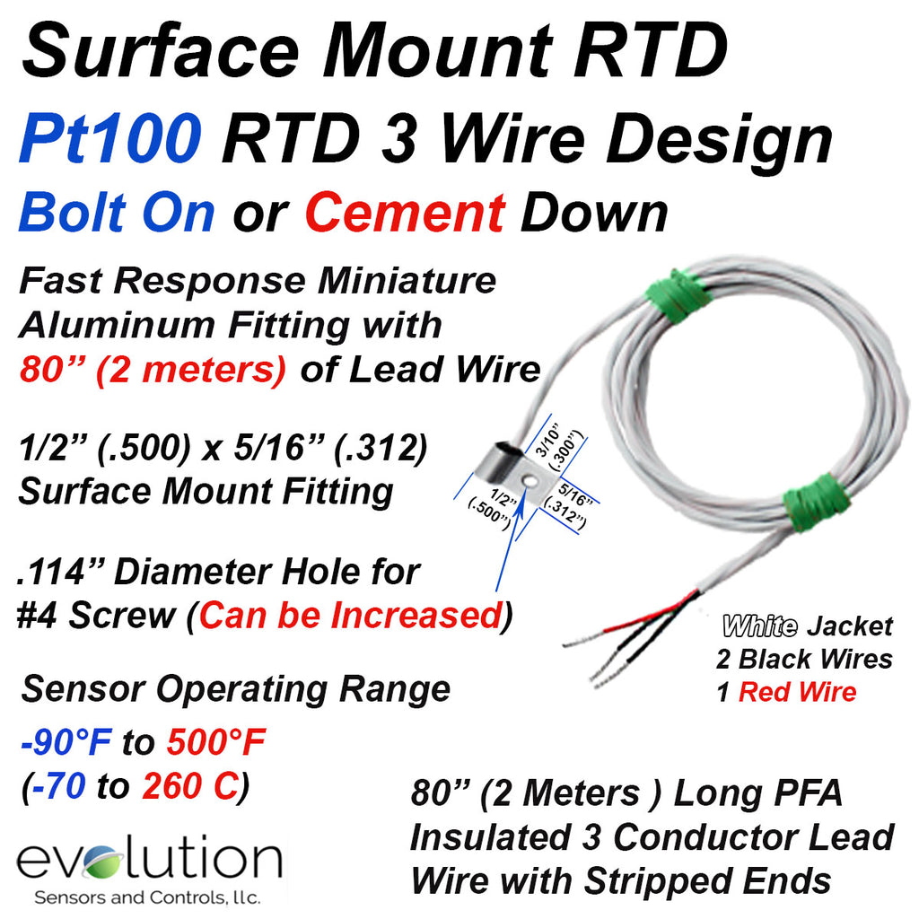 Surface Mount 3 Wire Pt100 RTD with Bolt On Miniature Fitting and Wire Leads