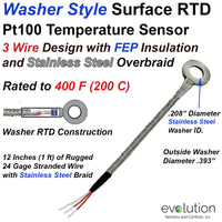 Washer RTD 3 Wire Pt100 with 12 inches of Stainless Steel Braid Leads