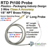 "RTD Sensor Plastics Industry 2"" Long Sheath Armor Cable and NPT Fitting Class A"