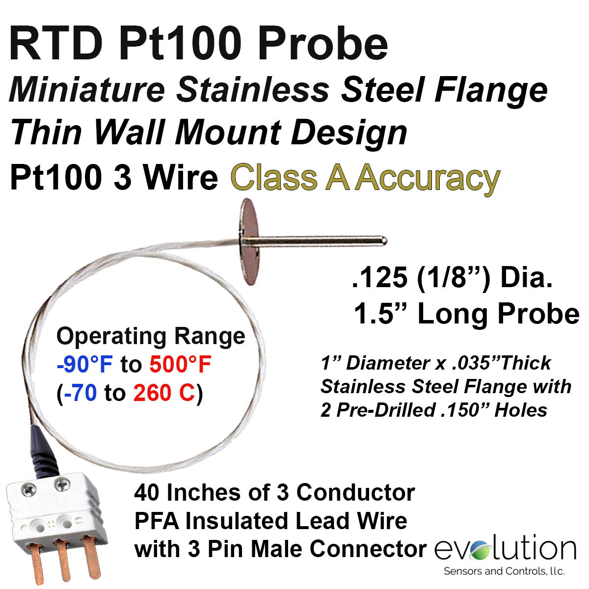 RTD Probe for Lab, Test Center and Restaurant Air Flow and