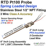 "Spring Loaded RTD Probe 6"" Long with 1/2"" NPT Fittings and Lead Wires"