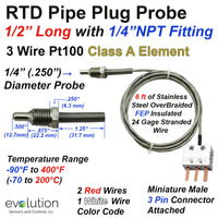 RTD Pipe Plug Probe with NPT Fitting and Miniature 3 Pin Connector