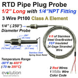 RTD Pipe Plug Probe with NPT Fitting