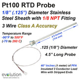 "RTD Probe with 1/8"" NPT Fitting and 4.5"" Long x 1/8"" Diameter Stainless Steel Sheath with PFA Insulated Lead Wire"