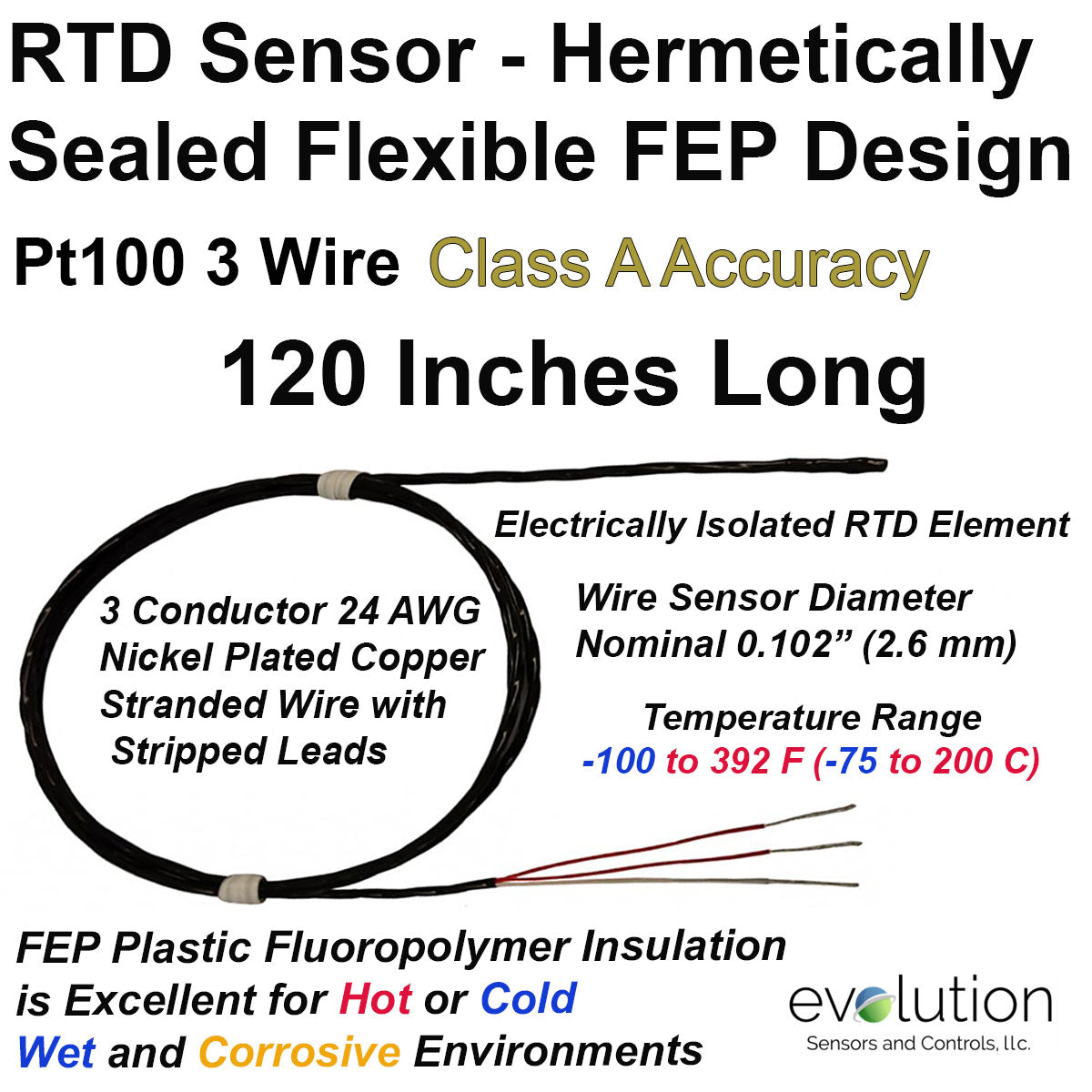 Hermetically Sealed Rtd Sensor Fep Insulated 3 Wire Class
