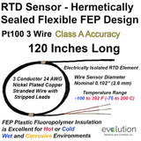 "Hermetically Sealed RTD Sensor FEP Insulated 3 Wire Class A Accuracy 120"" Long"