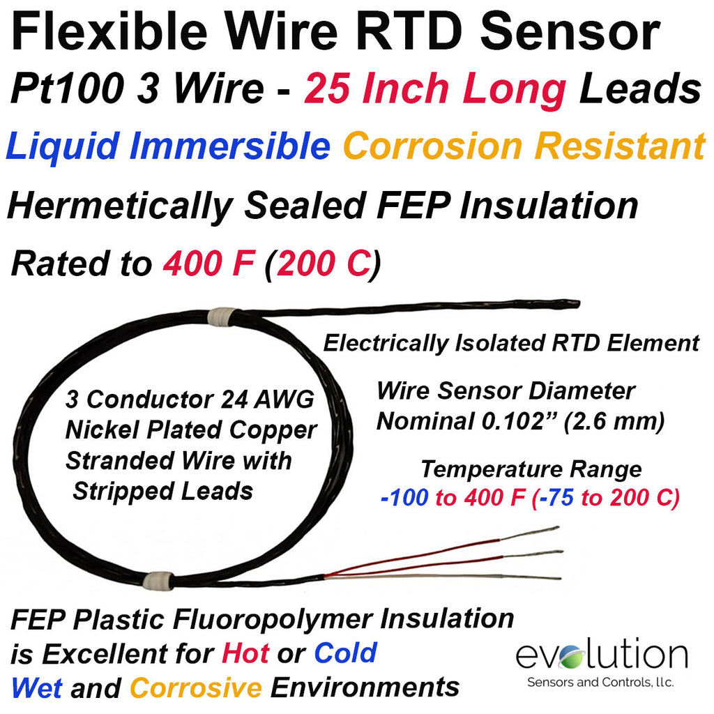 Flexible Wire RTD Sensor FEP Insulated Hermetically Sealed 25 Inch Leads