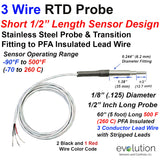 "Short RTD Probe with Metal Transition to Lead Wire | 1/2"" Long"