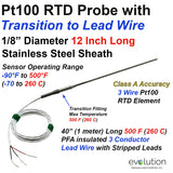"RTD Probe with Metal Transition to Lead Wire - 12"" Long x 1/8"" Dia. Class A Accuracy"