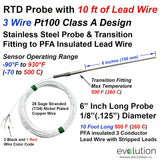 RTD Probe with Transition | 10 feet of PFA Lead Wire
