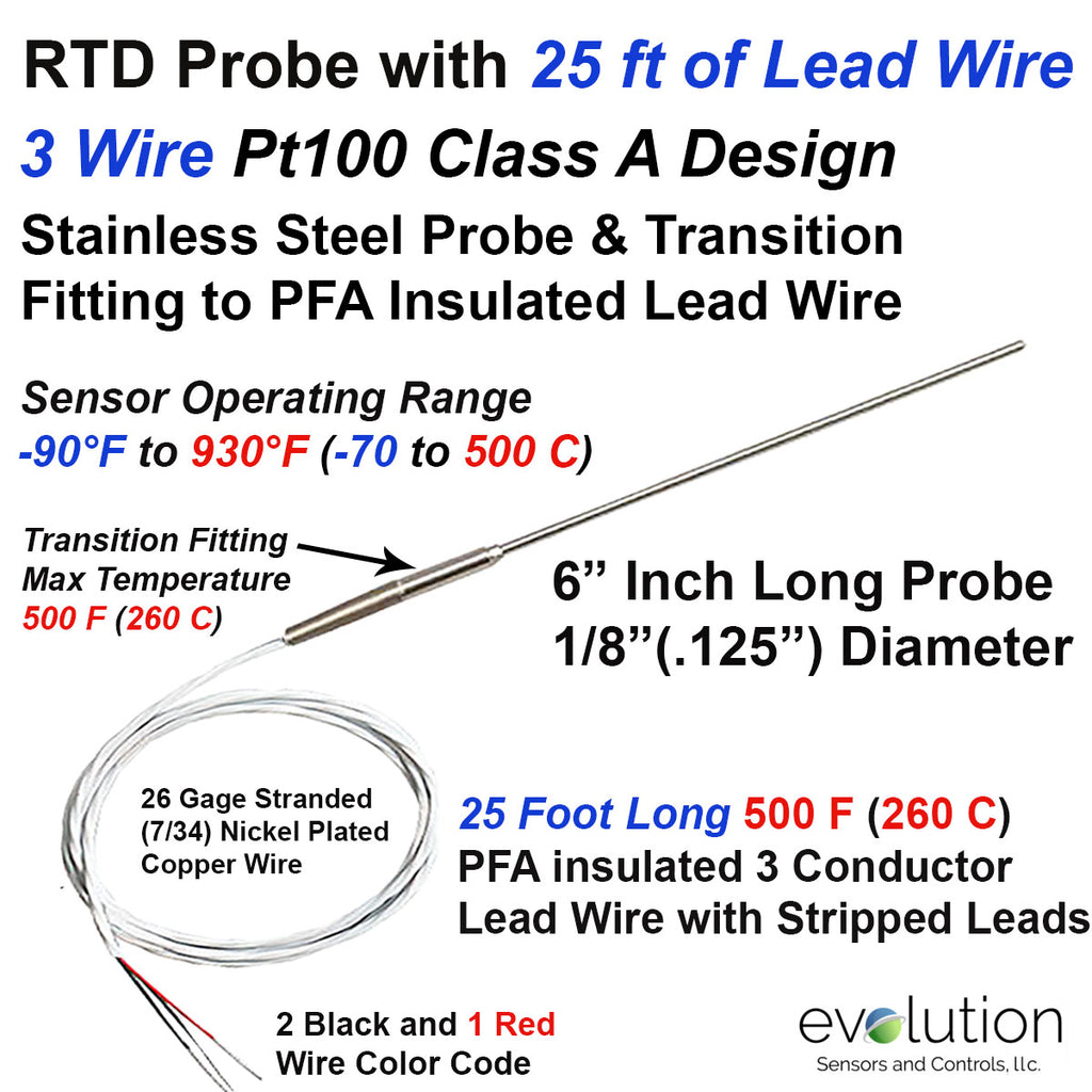 RTD Probe with Metal Transition to 25 foot Long PFA lead wire