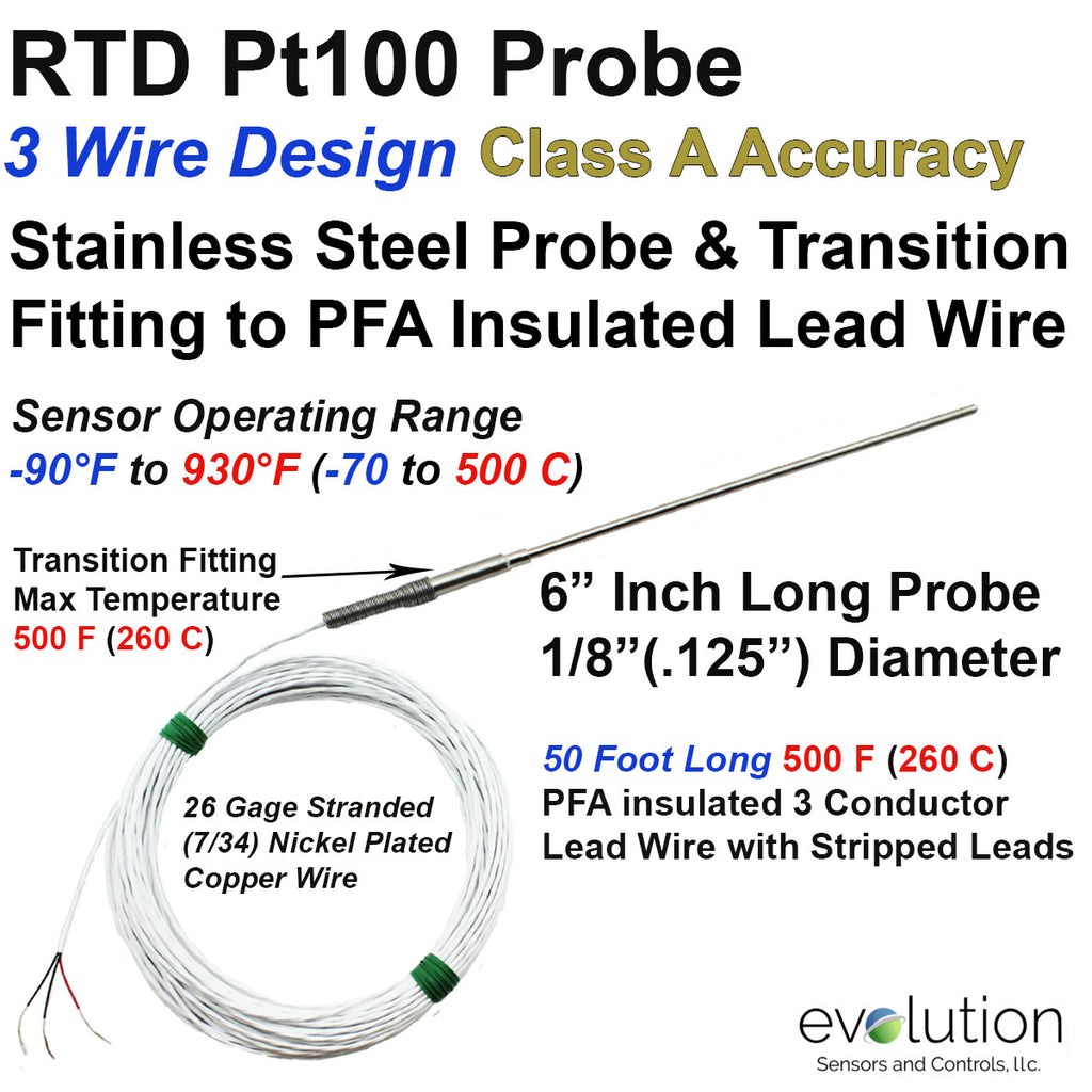 RTD Probe with Metal Transition to 50 foot Long PFA lead wire