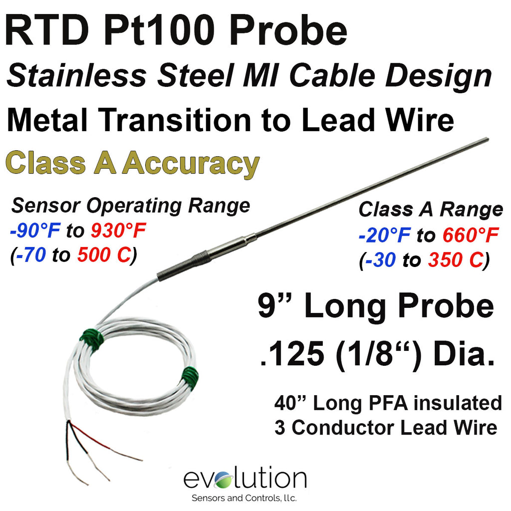 "RTD Probe with Metal Transition to Lead Wire - 9"" Long x 1/8"" Dia. Class A Accuracy"