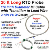 20 ft Long 3 Wire Pt100 RTD Probe with Transition to Lead Wire
