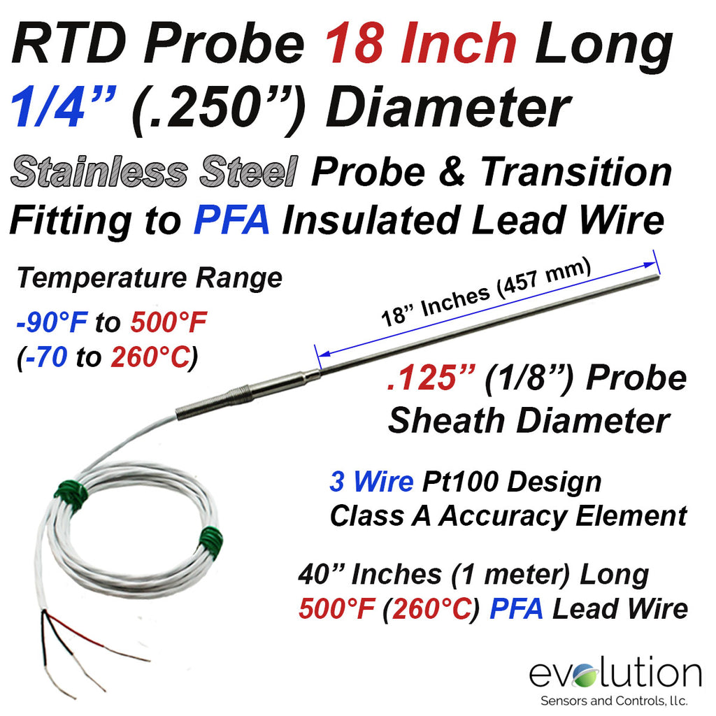 "RTD Probe with Metal Transition to Lead Wire - 18"" Long x 1/4"" Dia. Class A Accuracy"