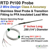 "RTD Metal Transition to Lead Wire - 3"" Long x 1/4"" Diameter Probe"