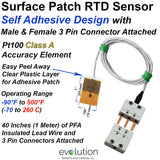 Surface Patch RTD Sensor with Male and Female 3 Pin Connectors