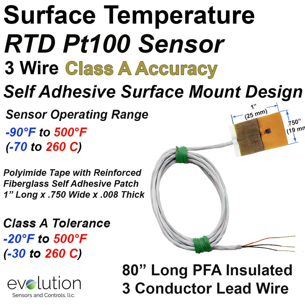 RTD Surface Temperature Sensor with Self Adhesive Patch