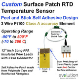 Custom Surface Patch RTD Temperature Sensor Peel and Stick Design