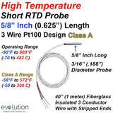 "HIgh Temperature Short RTD Probe 5/16"" Long with Fiberglass Wire Leads"