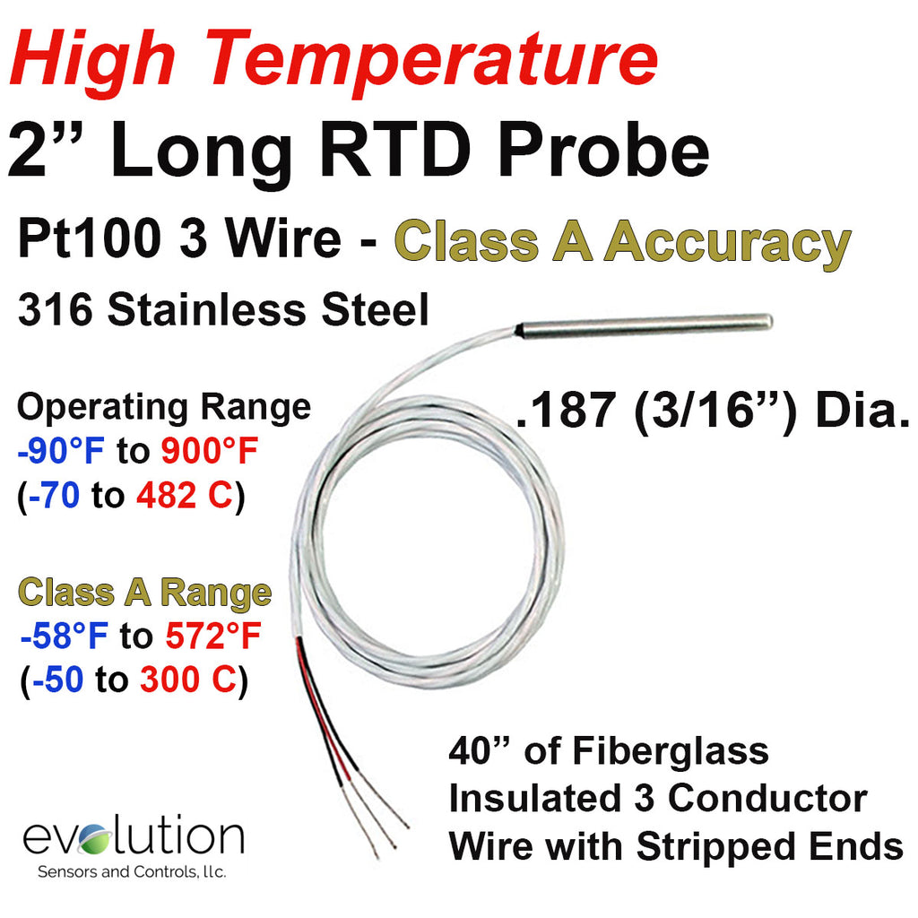 "900°F Rated Short RTD Probe 3/16"" Diameter with Fiberglass Lead Wire"