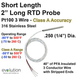 "Short RTD Probe 3 Wire Pt100 2 Inch Length 1/4"" Diameter with Lead Wire"