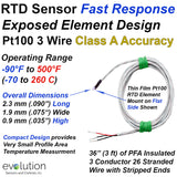 RTD Sensor Fast Response Exposed Element 3 Wire Pt100 Class A Accuracy