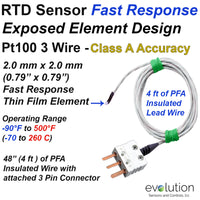 Exposed RTD Element Sensor Design with 48 Inch Long Leads and Connector